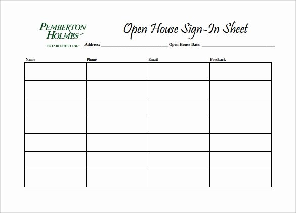 Open House Sign In Template Awesome 14 Sample Open House Sign In Sheets