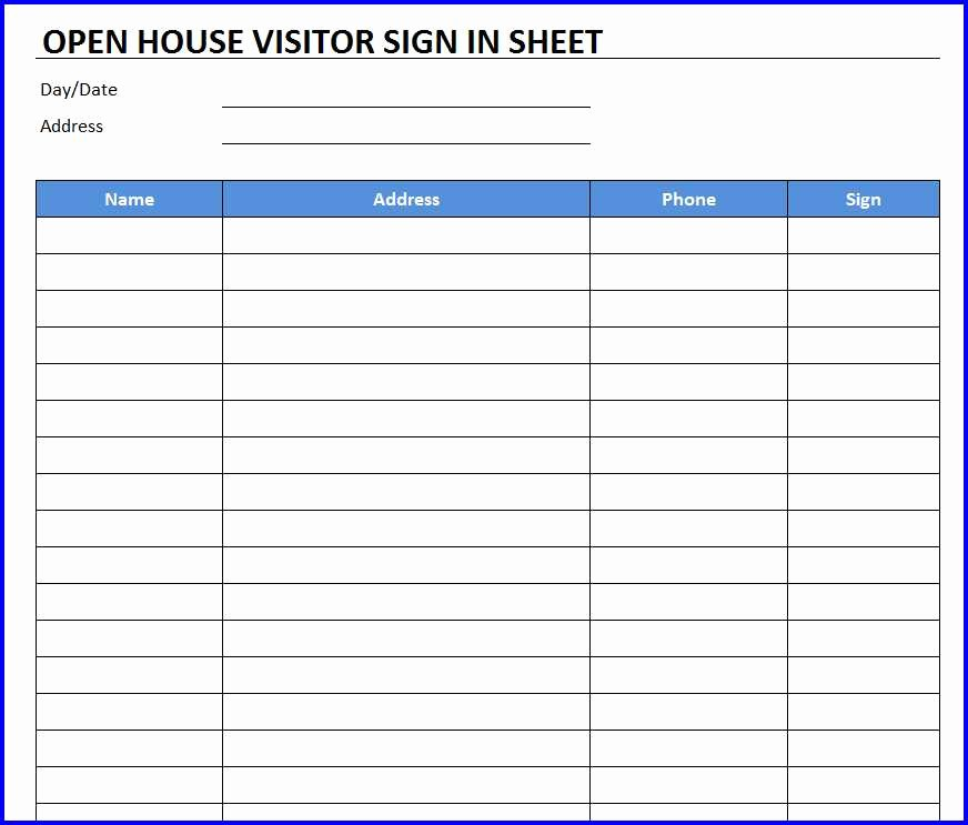 Open House Sign In Template Beautiful Open House Sign In Sheet Template Free Excel Templates