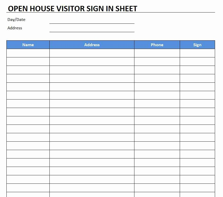Open House Sign In Template Fresh Open House Sign In Sheet Template Free Excel Templates