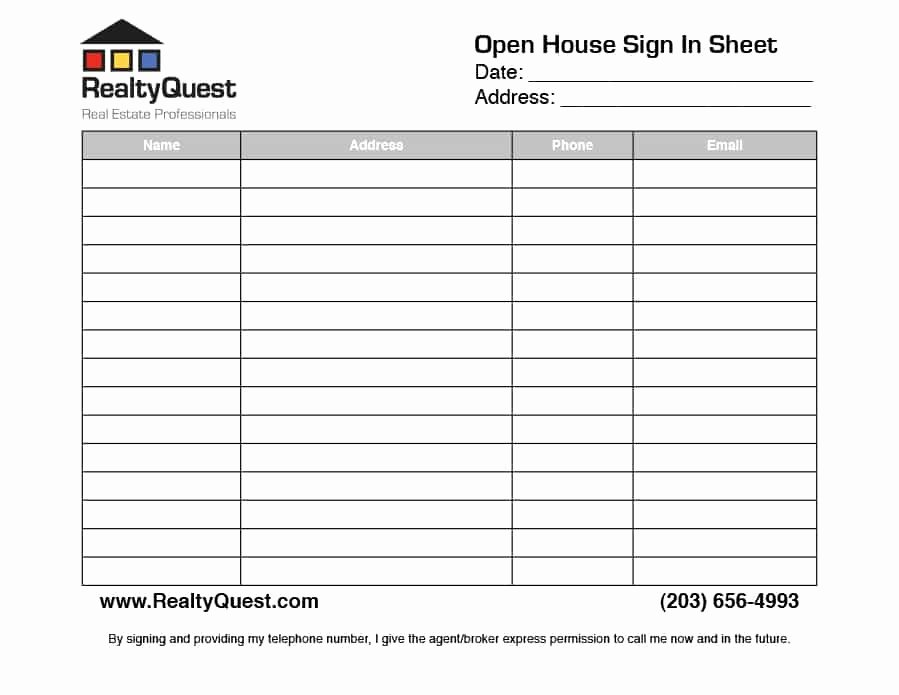 Open House Sign In Template Inspirational 30 Open House Sign In Sheet [pdf Word Excel] for Real