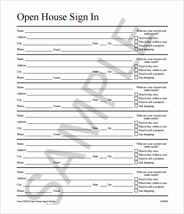 Open House Sign In Template New 75 Sign In Sheet Templates Doc Pdf