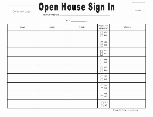Open House Sign In Template New Open House Sign In Sheet Open House Sign In Sheet Best