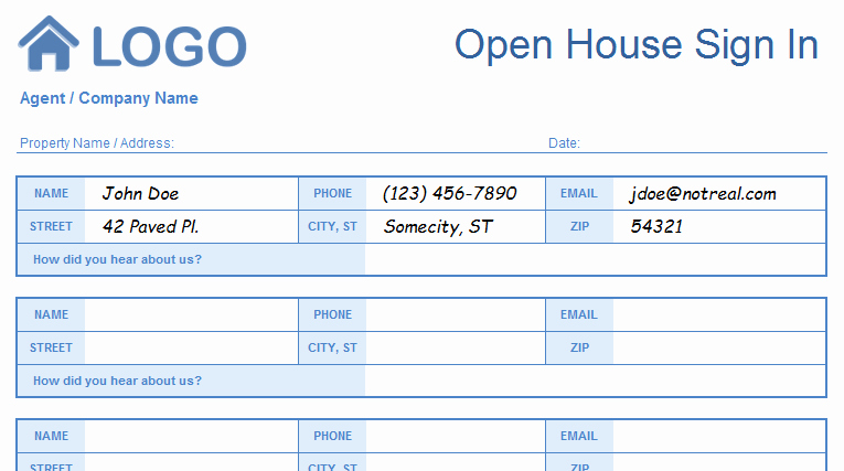 Open House Sign In Template Unique Open House Sign In Sheet Templates Printable