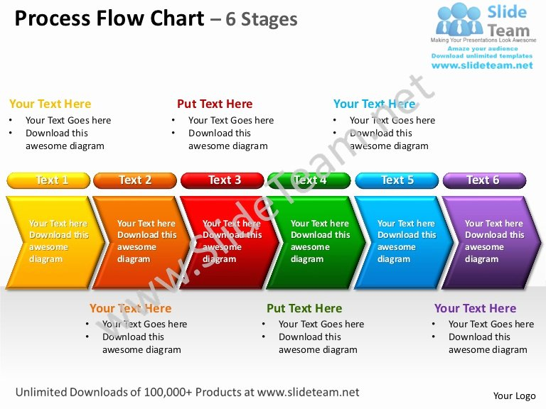 Operational Flow Chart Template Inspirational Process Flow Chart 6 Stages Powerpoint Templates 0712