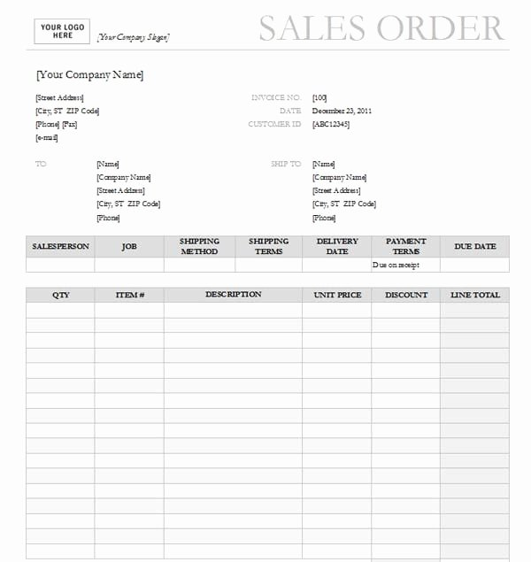 Order forms Template Word Awesome Sales order Templates