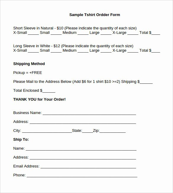 Order forms Template Word Inspirational 26 T Shirt order form Templates Pdf Doc