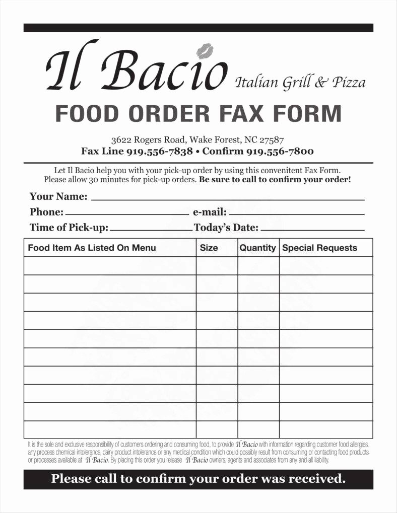 Order forms Template Word Unique 9 Food order form Templates Free Samples Examples
