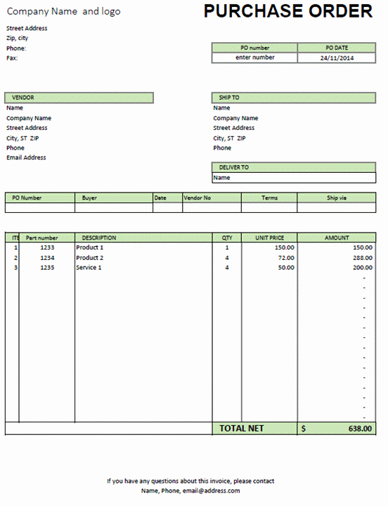 Ordering form Template Excel Lovely Excel Purchase order Template Excel