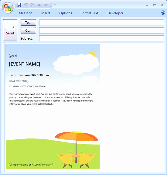 Outlook Email Invitation Template Unique Download Free Printable Invitations Of E Mail Message