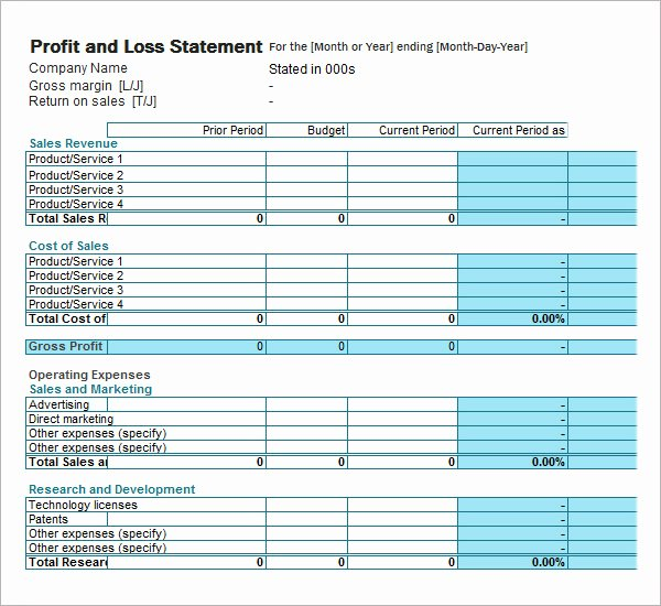 P and L Statement Template Fresh 20 Sample Profit and Loss Templates Docs Pdf Apple