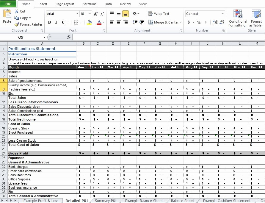 P and L Template Unique Restaurant Profit and Loss Statement Template Excel