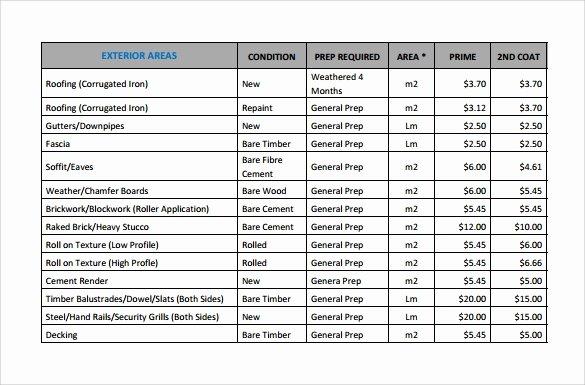 Painting Estimate Template Excel Elegant Sample Painting Estimate Templates 9 Free Documents In Pdf