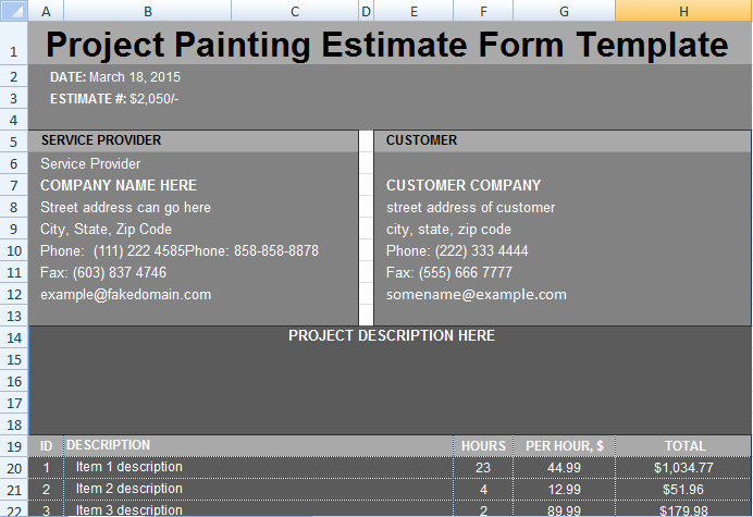 Painting Estimate Template Excel Fresh Project Painting Estimate Template Project Management