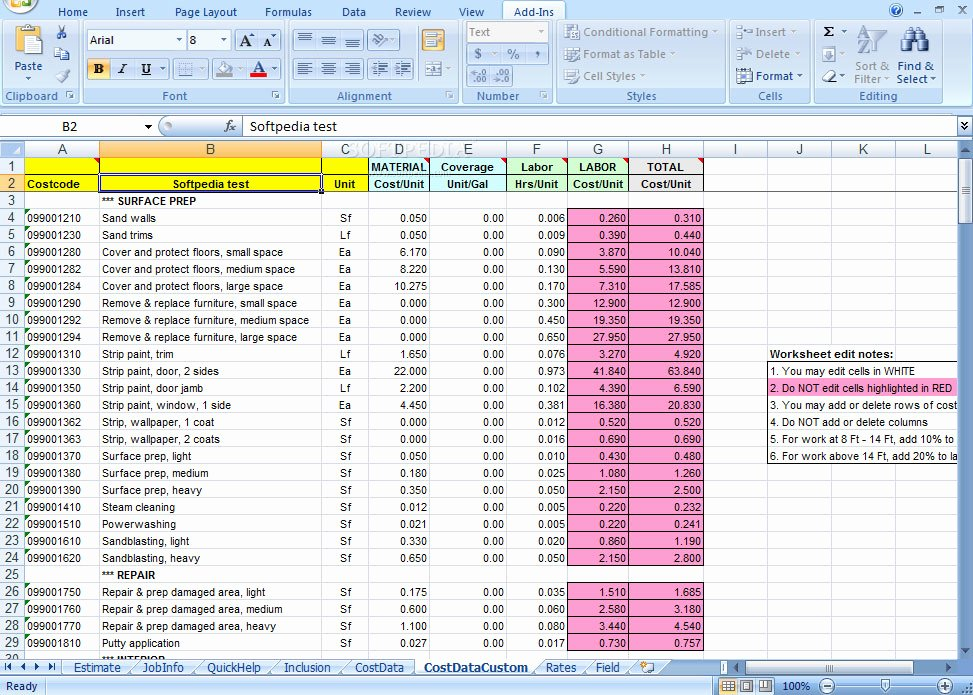 Painting Estimate Template Excel Lovely Construction Estimating Free Construction Estimating
