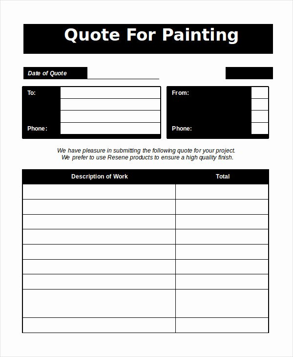 Painting Estimate Template Excel Luxury Word Estimate Template 5 Free Word Documents Download