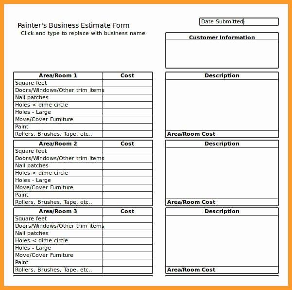 Painting Estimate Template Excel Unique 5 6 Estimate format In Excel Free