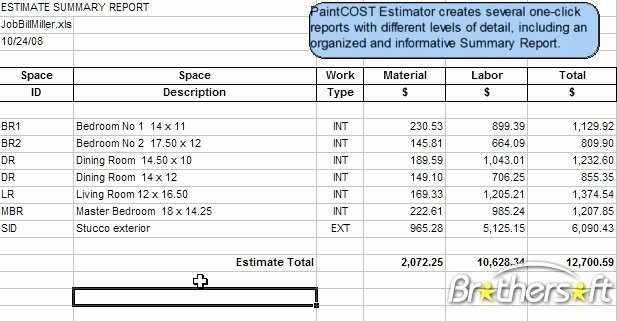 Painting Estimate Template Excel Unique Download Free Paintcost Estimator for Excel Paintcost