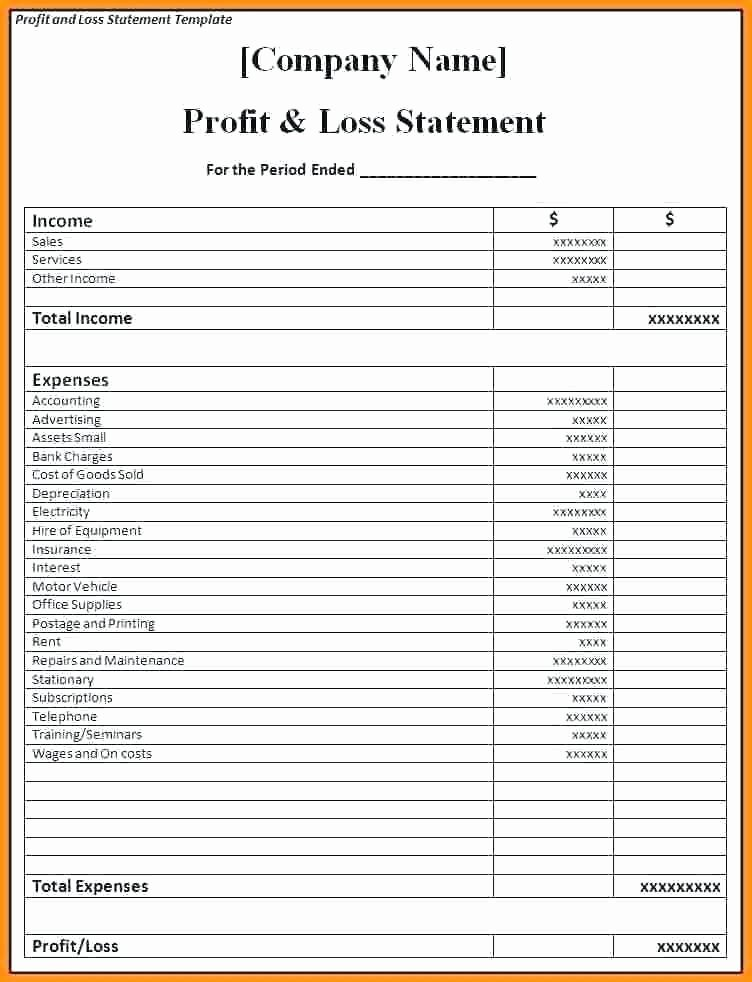 P&l Statement Template Elegant Simple P L Template Simple P L format Free