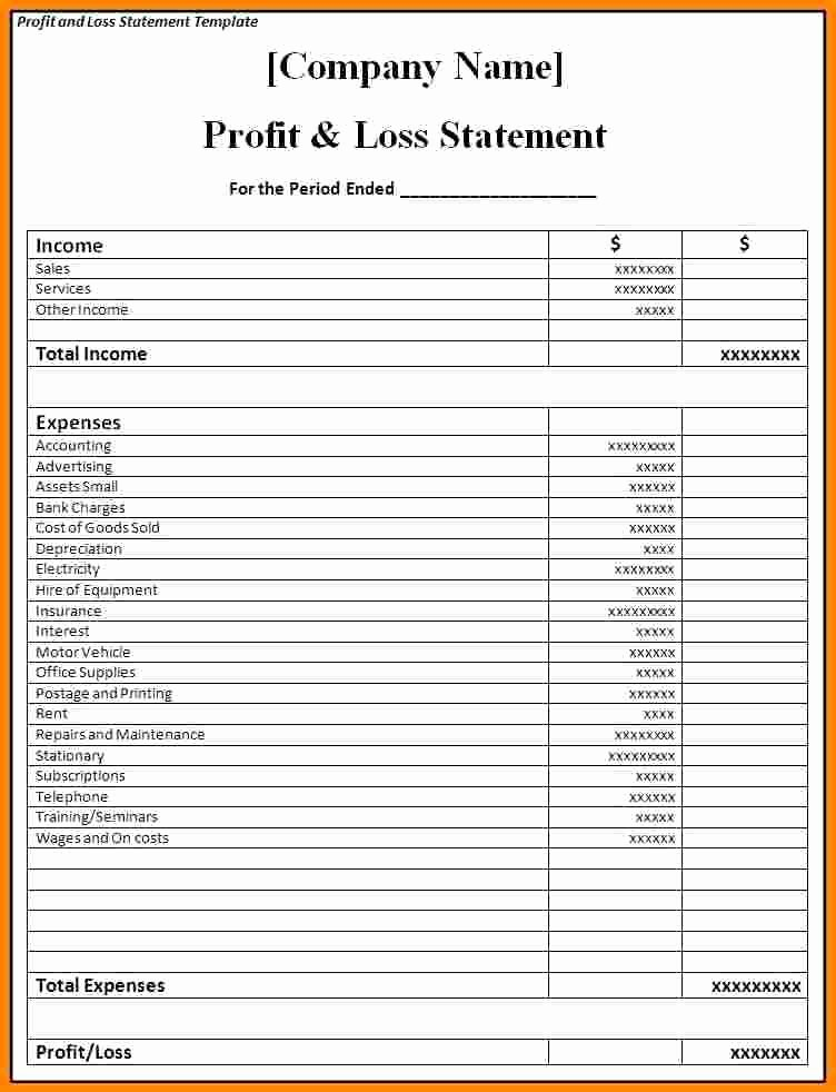 P&l Statement Template Fresh Samples Profit and Loss Statements Restaurant P&l