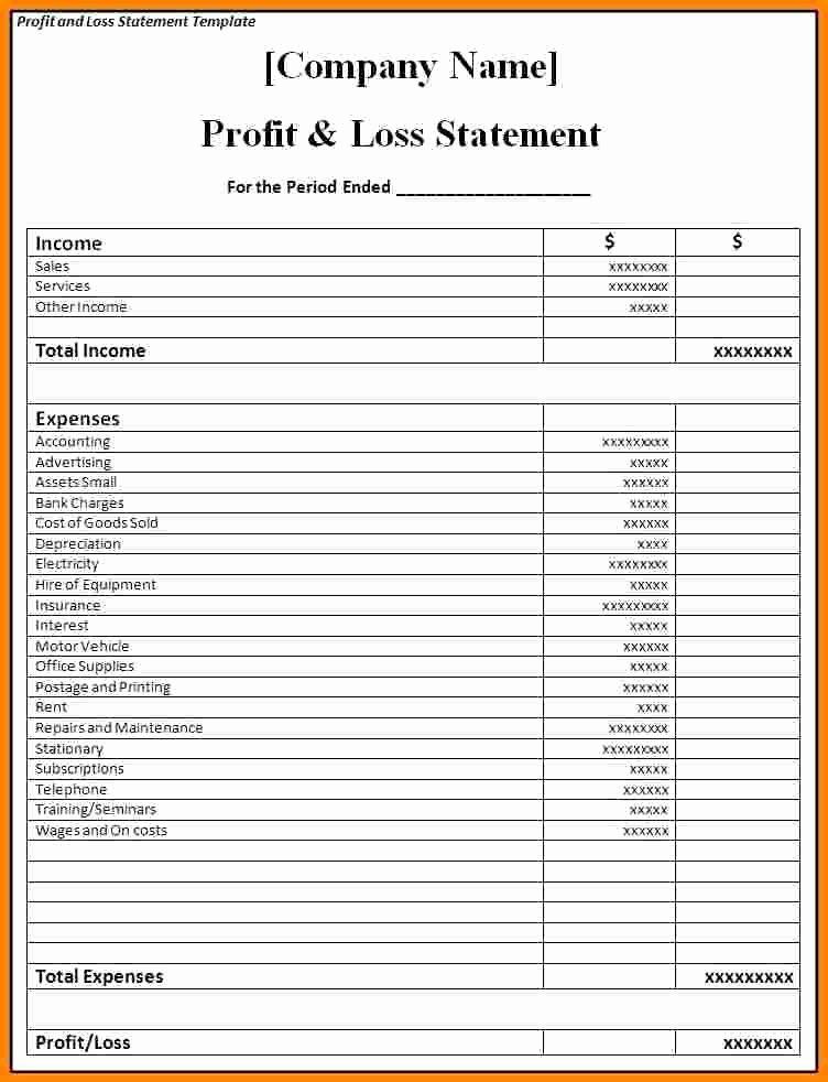P&l Statement Template Fresh Samples Profit and Loss Statements Restaurant P&l