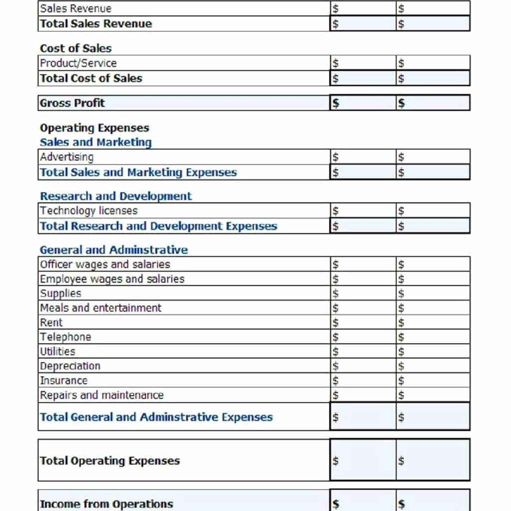 P&l Statement Template Inspirational Free Profit and Loss Spreadsheet Statement