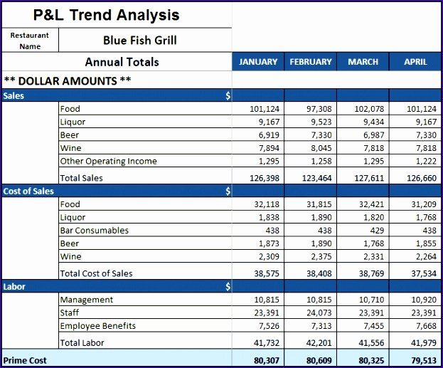 P&l Statement Template Luxury 5 Restaurant Monthly Profit and Loss Statement Template