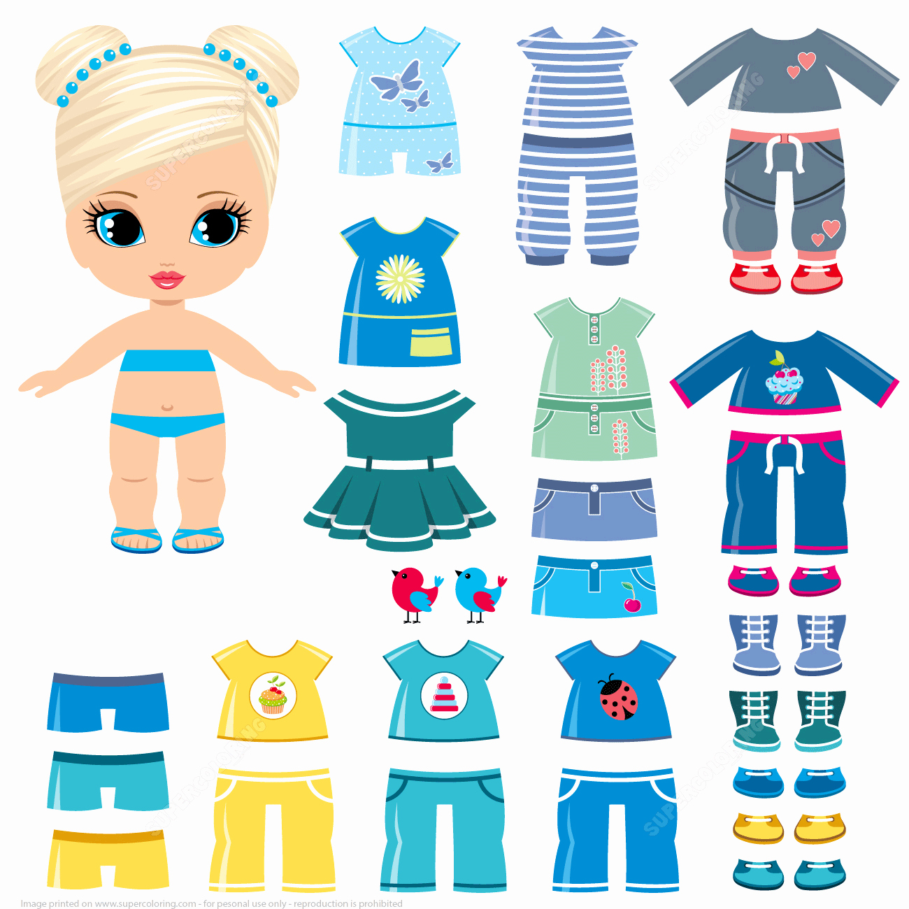 Paper Doll Clothes Template Awesome Summer Clothing and Shoes for A Little Girl Paper Doll