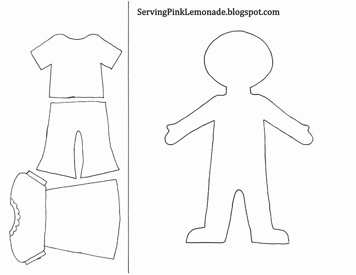 Paper Doll Clothes Template Beautiful Template for Girl and Clothes Also Mailbox Tree for