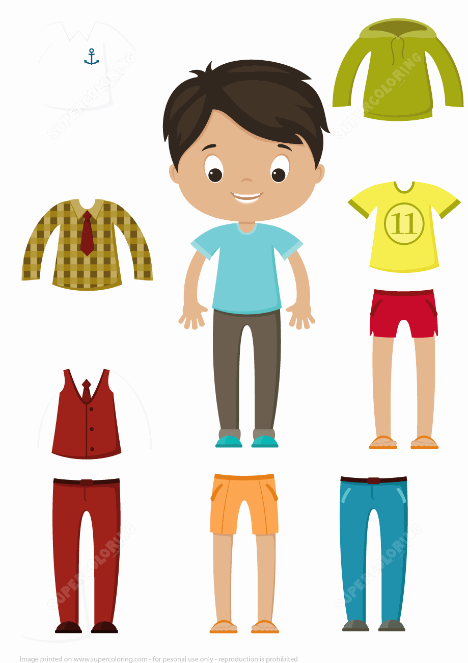 Paper Doll Clothes Template Unique Cut Out Boy Paper Doll Clothes Set