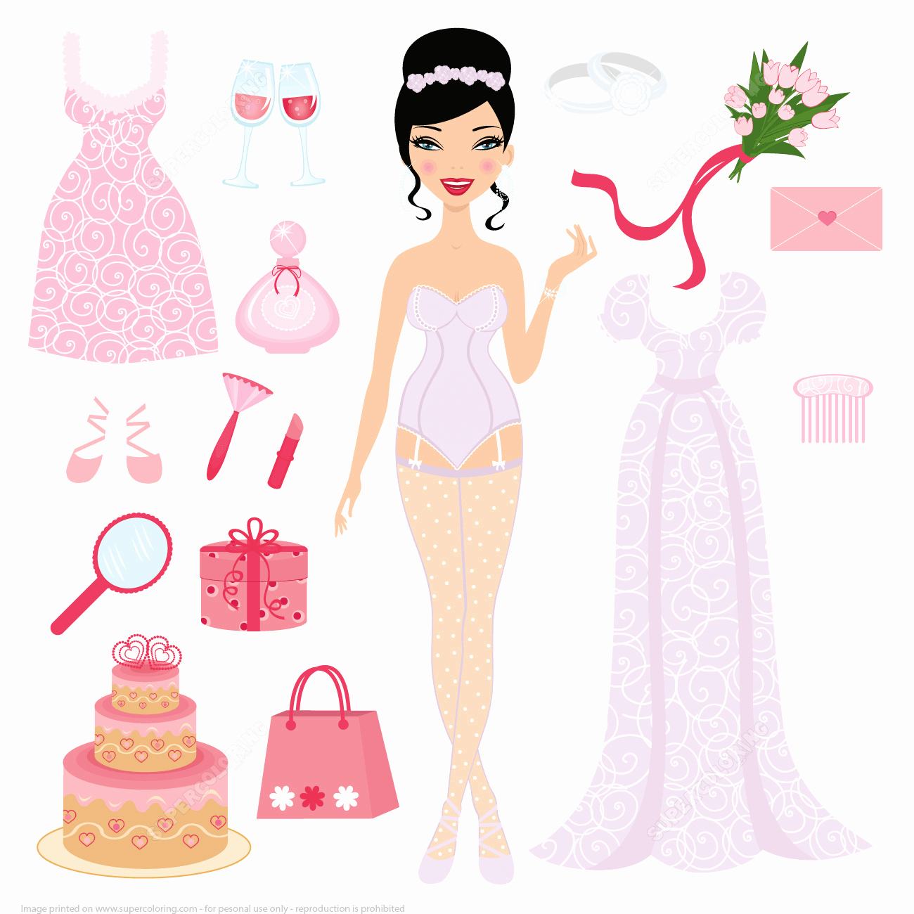 Paper Doll Clothing Template Beautiful Dress Up Bride Paper Doll for Wedding Ceremony