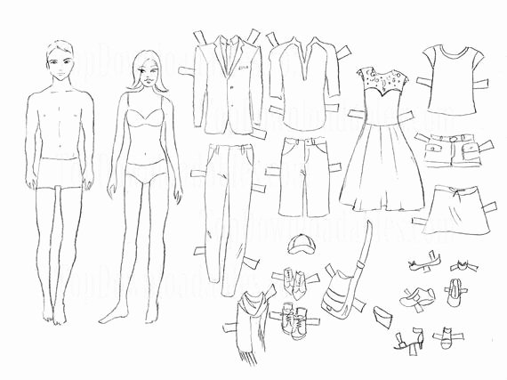 Paper Doll Clothing Template Beautiful Items Similar to Coloring Paper Doll Man and Woman Sheet