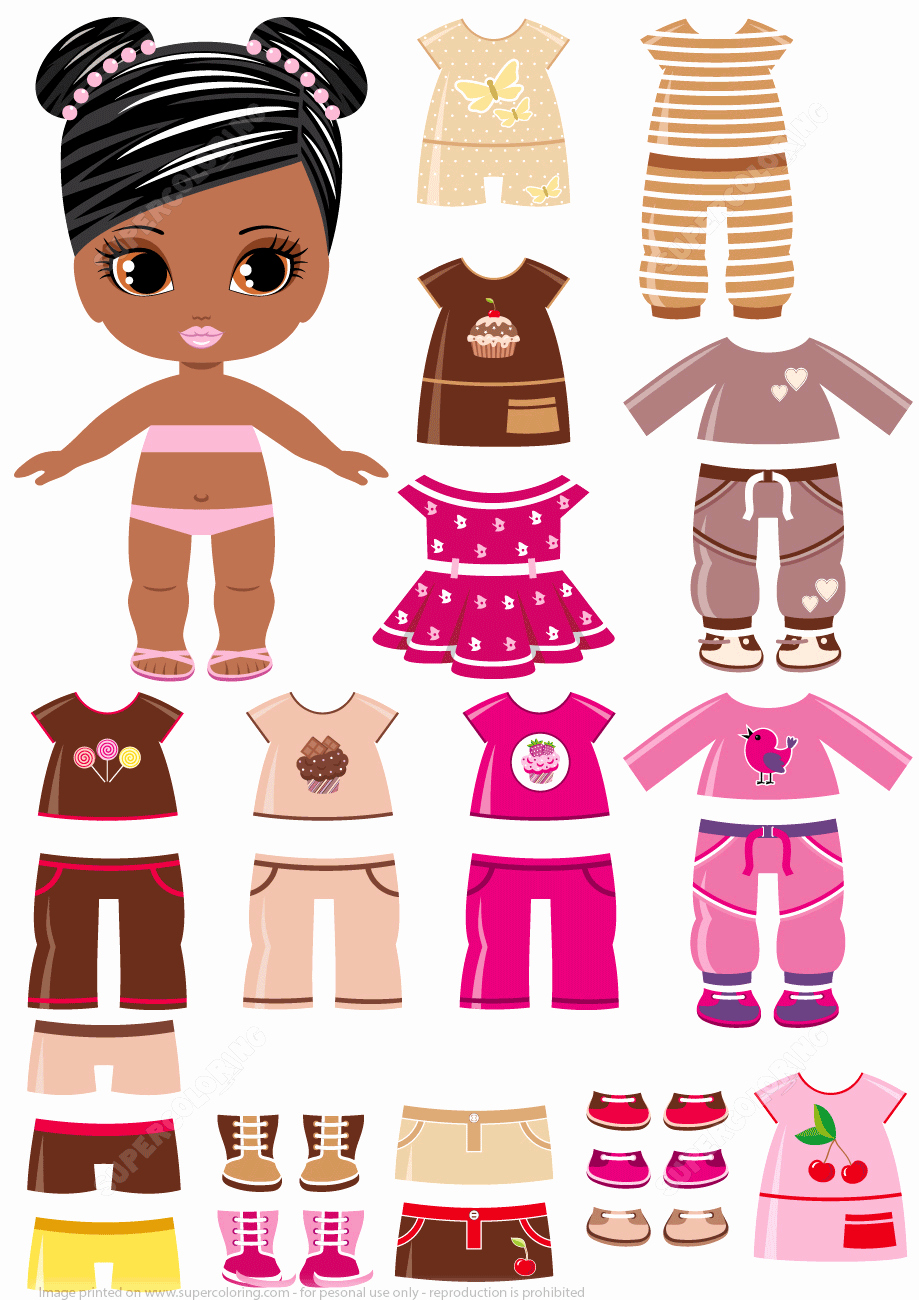 Paper Doll Clothing Template Best Of African Amercian Girl with A Set Of Summer Clothing From