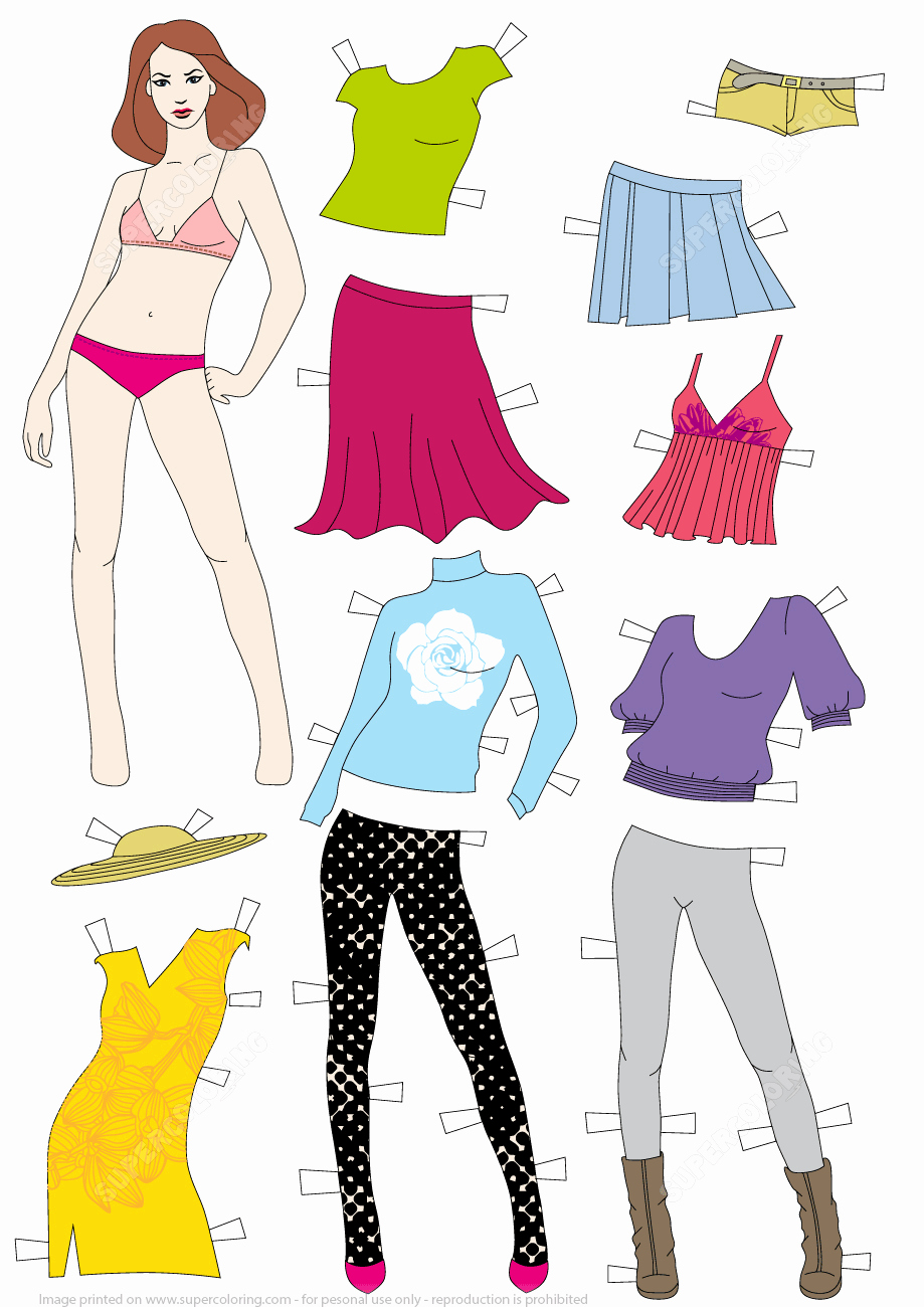 Paper Doll Clothing Template Lovely Woman Paper Doll with Clothes Template