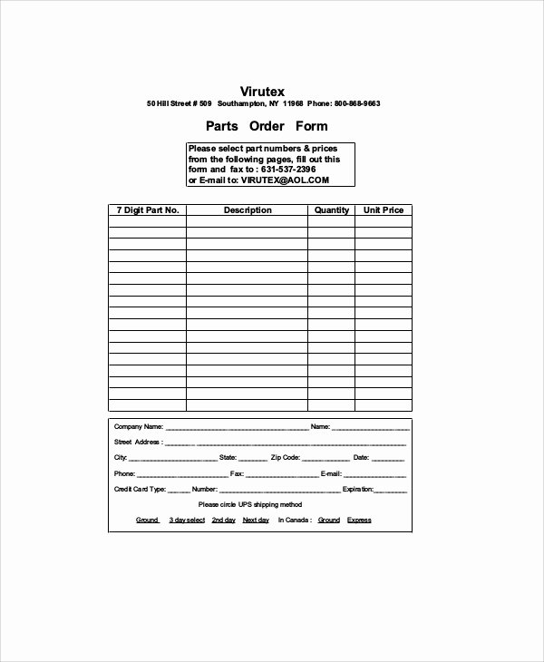 Part order form Template Awesome 11 Sample Parts order forms