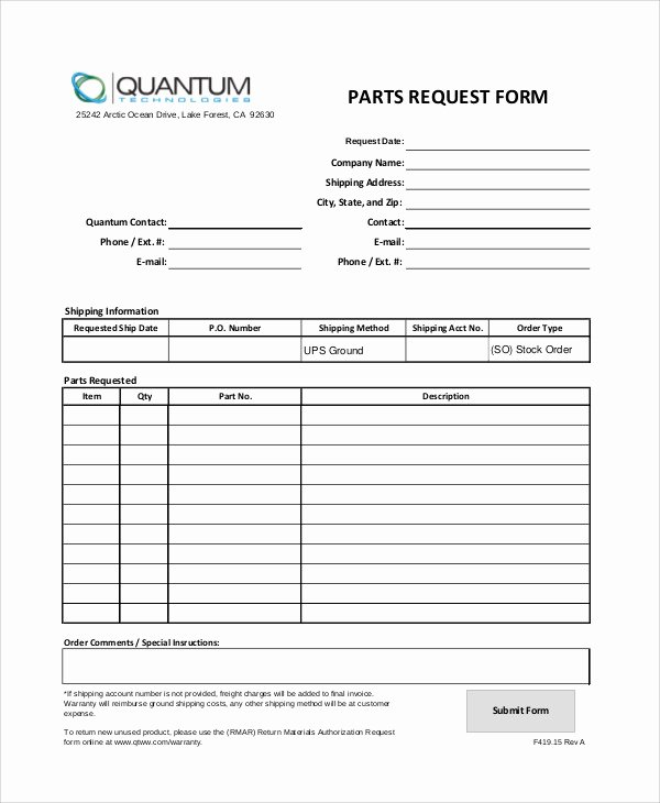 Part order form Template Best Of 11 Sample Parts order forms