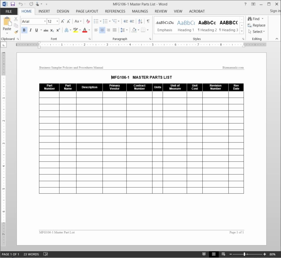 Part order form Template Best Of Master Parts List Template