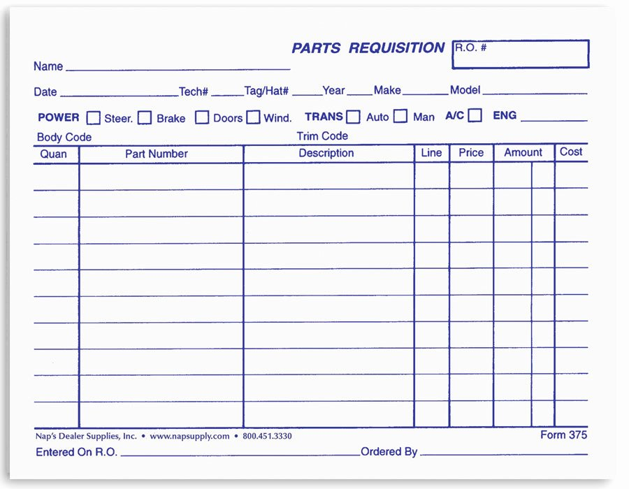 Part order form Template Best Of Parts Requisition forms Napsupply