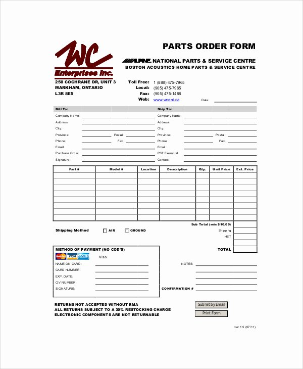 Part order form Template Fresh 11 Sample Parts order forms