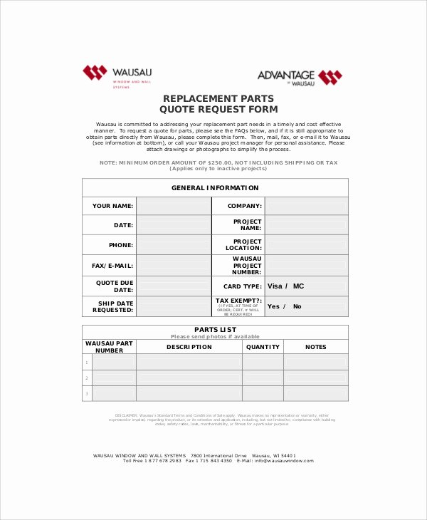 Part order form Template Inspirational 11 Sample Parts order forms