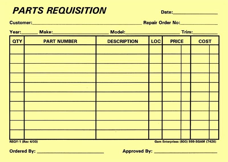 Part order form Template Lovely Parts Requisition Yellow form