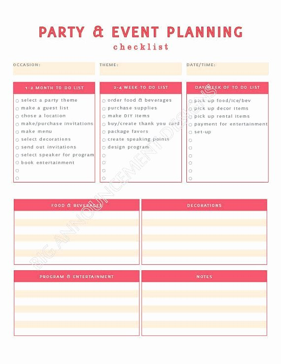 Party Plan Checklist Template Awesome event Planning 101 – Ida Skinner