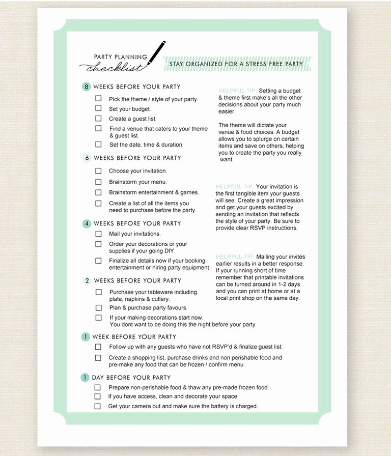 Party Plan Checklist Template Beautiful 11 Free Printable Party Planner Checklists – Tip Junkie