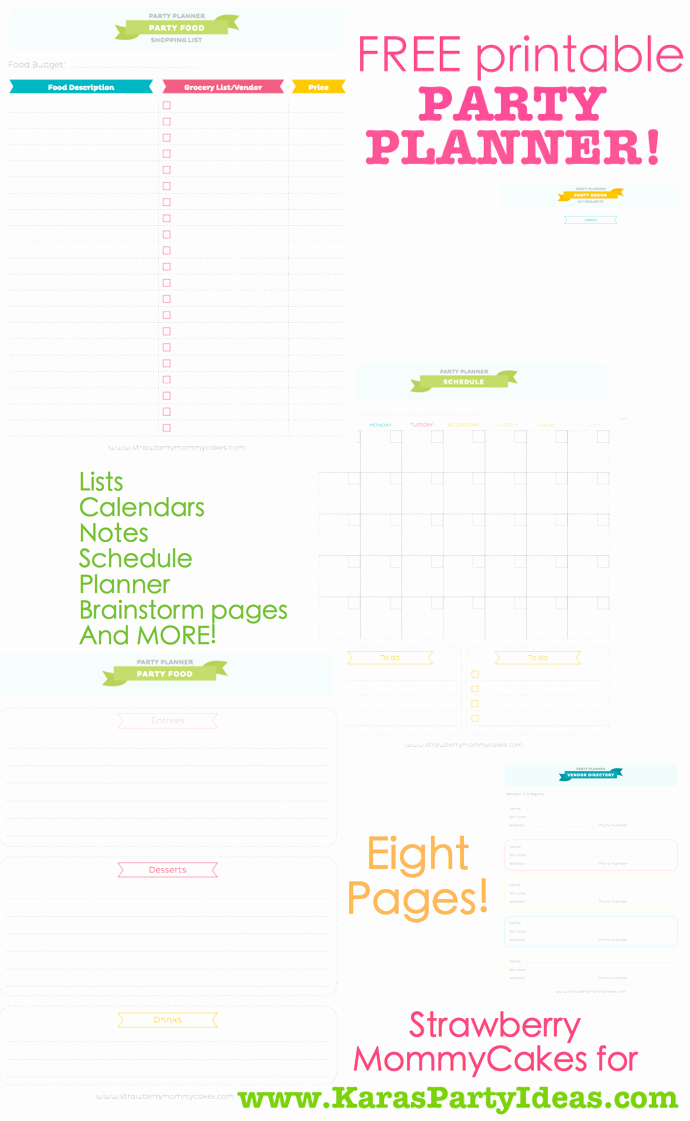 Party Plan Checklist Template Inspirational Kara S Party Ideas Free Printable Party Planner