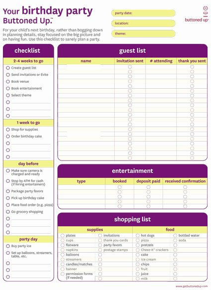 Party Plan Checklist Template Luxury Free Printable Birthday Party Checklist form buttoned Up