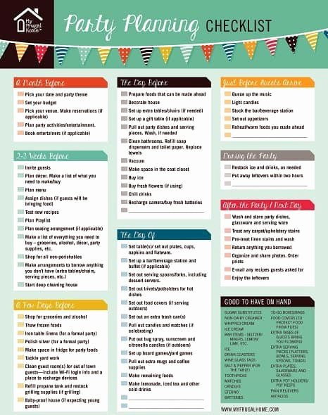 Party Plan Checklist Template Luxury Printable Party Planning Checklist