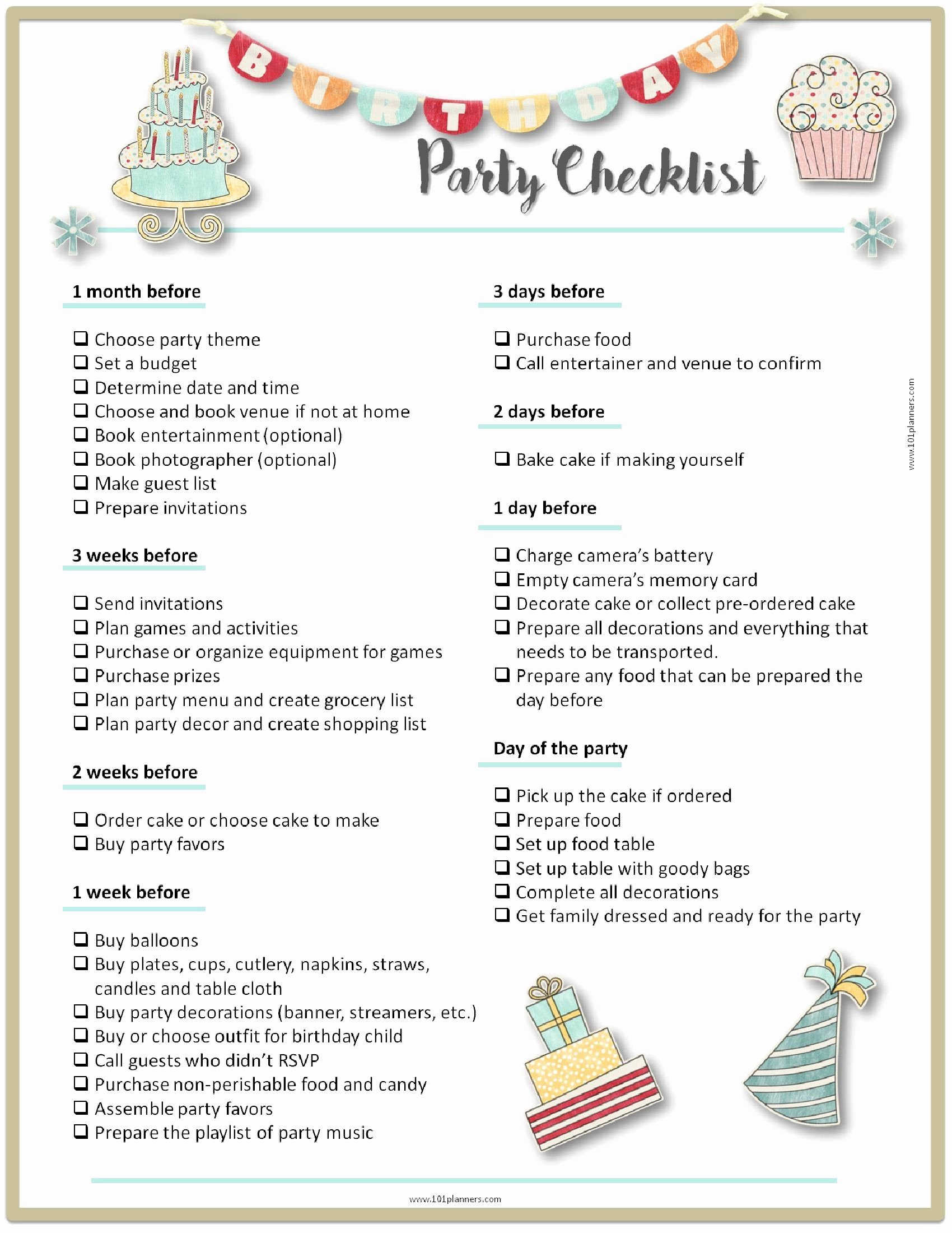 Party Plan Checklist Template New Party Planning Template Party