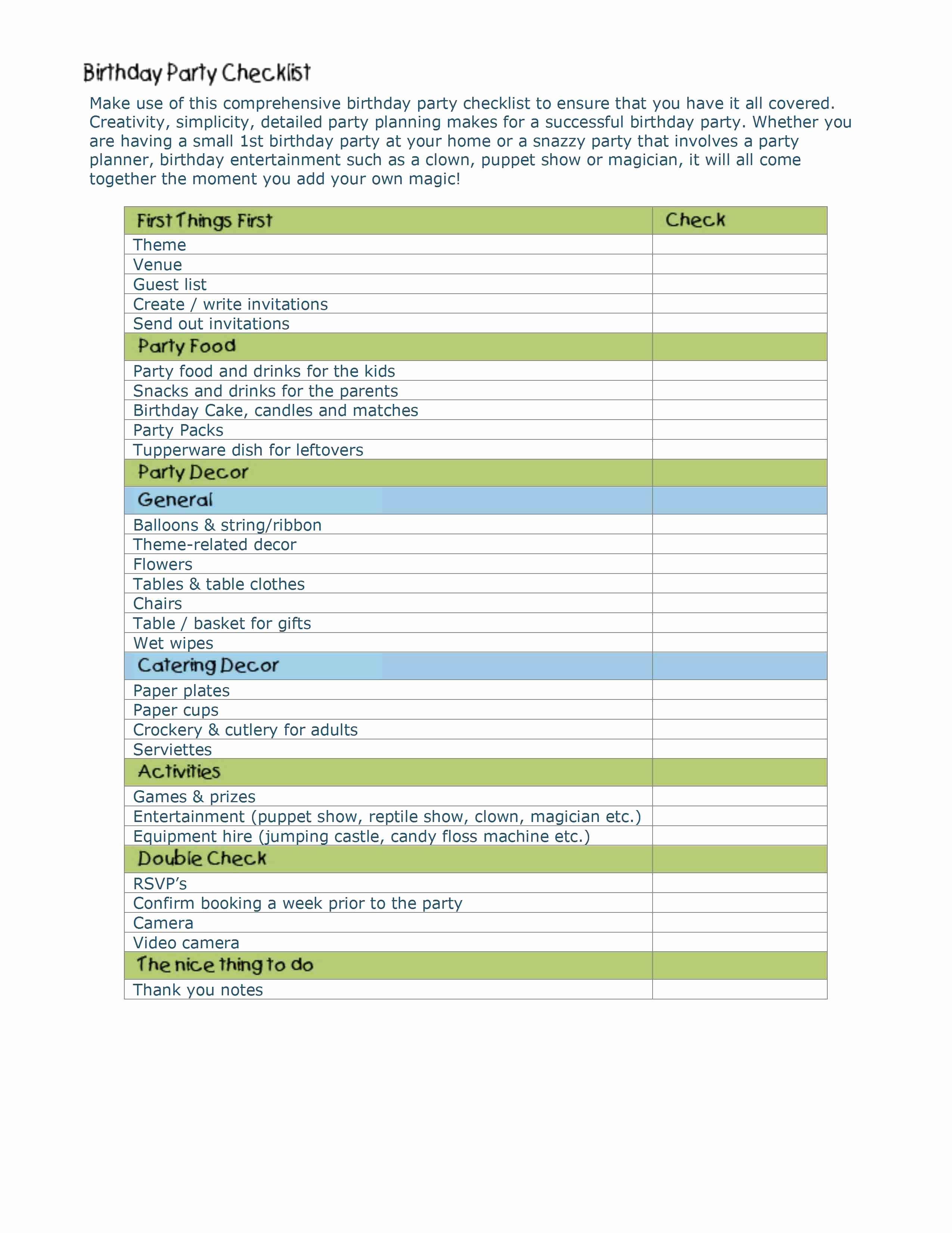 Party Plan Checklist Template Unique event Planning Checklist Template