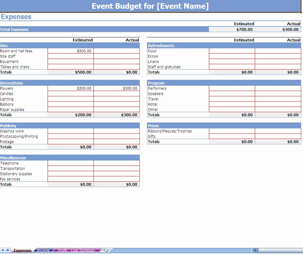 Party Planning Budget Template Awesome event Bud Spreadsheet event Bud Ing