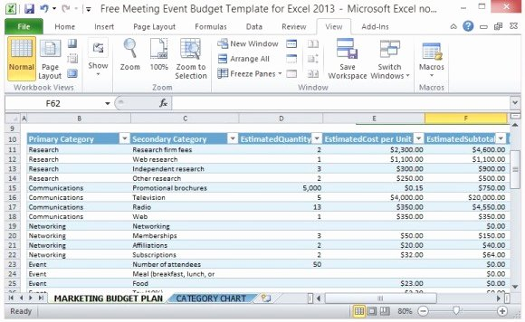 Party Planning Budget Template Awesome Free Meeting event Bud Template for Excel 2013