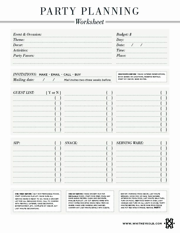 Party Planning Budget Template Best Of Party Planning Worksheet Amy S 42nd Birthday